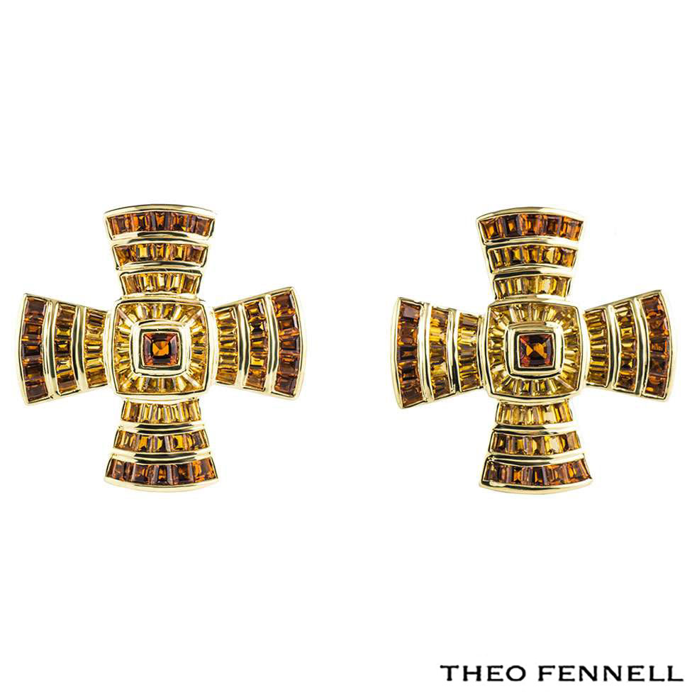 Theo Fennell Yellow Gold Multi-Gem Cross Earrings
